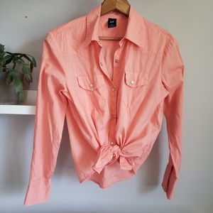 Gap Cotton Peach Snap Front Collared Shirt S